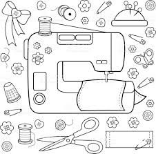 sewing project tools and equipment coloring book page stock vector