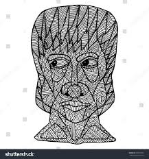 doodle coloring pagevector sketchface man stock vector