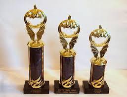 set of 3 halloween trophies pumpkin carving trophies black ebay