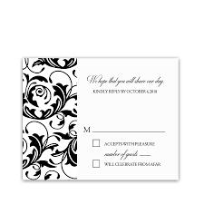 Invitation Acceptance Cards Damask Floral Wedding Black White Rsvp Response Cards