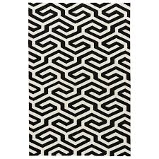8x10 White Rug Indoor Outdoor Geometric Pattern Black White Polypropylene Area