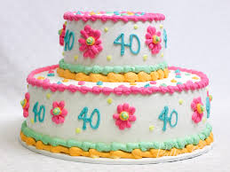 photo of a 40th birthday cake 2 tier pink white green yellow