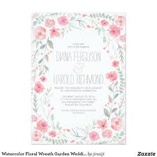 Order Invitation Cards Watercolor Floral Wreath Garden Wedding Invites Romantic Floral