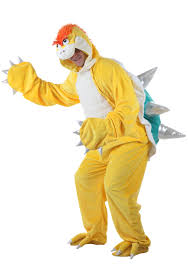 Bowser Halloween Costumes Yellow Dinosaur Green Shell Costume