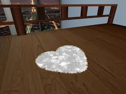 second life marketplace white fuzzy heart shaped rug