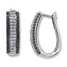 back diamond earrings jared black diamond earrings 1 ct tw cut 14k white gold