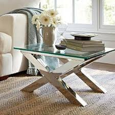Pottery Barn Ava Desk by Jonathan Adler Meurice Glass Coffee Table In Polished Nickel