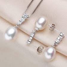 silver freshwater pearl necklace images Trendy pearl necklace and earrings set 4 colors fine pearls jpg