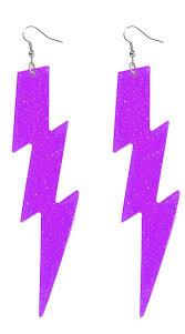 purple earrings purple lightning bolt earrings neon lightning bolt earrings neon