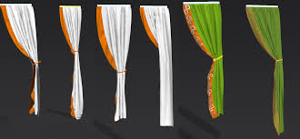 albertine curtains with embroidery in marvelous designer to maya