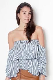 Shoulder Top - striped tiered shoulder top lyla