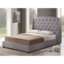 amazon com baxton studio ipswich linen modern platform bed queen