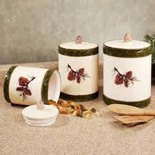 pine cone rustic kitchen canister set canisters pinterest