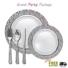 silver wedding plates masterpiece premium plastic heavyweight plates combo pack 48 ct