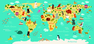 World Map Prints by Animals World Map