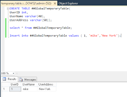 creating temporary tables in sql server