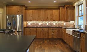 rustic cabinets kitchen brick kitchen backsplash with hickory
