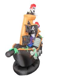 amazon com 7 foot inflatable pirate ship with skeleton crew