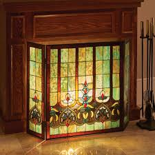 Glass Fireplace Door by Stained Glass Hearts Decorative Three Panel Fireplace Screen