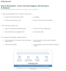 quiz u0026 worksheet letter from birmingham jail summary u0026 analysis