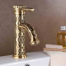 European Bathroom Fixtures Basin Faucets Solid Brass Vintage Antique Bathroom Faucet Single