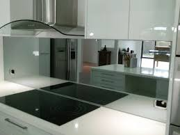 tag for mirrored splashback in modern kitchen large kitchen