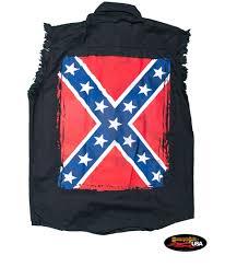 Black Confederate Flag Confederate Flag Cut Off Black Denim Shirt Motorcycle Rally Usa