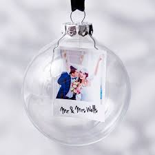 photo mr and mrs personalised bauble personalised