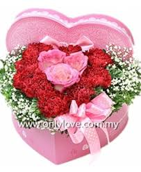 flower gift heart shape flower gift box sameday flower delivery to malaysia