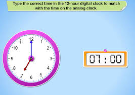 first grade interactive math skills telling time