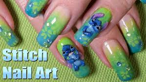 disney inspired 3d stitch nail art design tutorial youtube