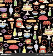 nahtlose vektormuster mit farbige kuchen auf schwarze farbe