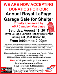 annual royal lepage garage sale for shelter tbnewswatch com