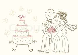 wedding pair and cake drawing stock vector colourbox