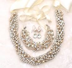 bracelet earring jewelry necklace images Pearl necklace and earring set for bridesmaids chunky pearl jpg