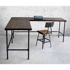Industrial L Shaped Desk Custom Made Reclaimed Wood Industrial Styled L Shaped Desk Rise