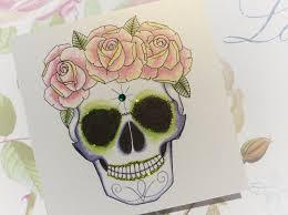 handmade birthday card rose crown sugar skull tattoo