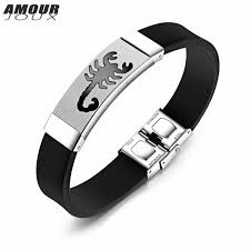 stainless steel charm bracelet images Buy amourjoux sporty silicone band scorpion jpg