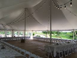 renting a tent rope and pole tent with bistro lights contact abc rentals special