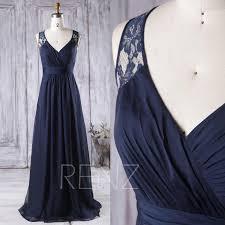2016 navy blue bridesmaid dress long v neck wedding dress lace