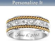 engraved wedding rings western personalized mens wedding ring