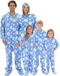 matching family pajamas blue snowflakes footed pajamas