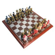 painted polystone teddy chess set