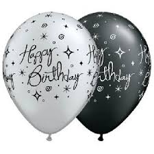 silver balloons 11 printed happy birthday balloons black silver