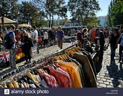second berlin second clothes at the mauerpark market in berlin stock photo