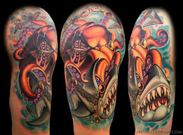 nautical themed colored octopus with shark half sleeve