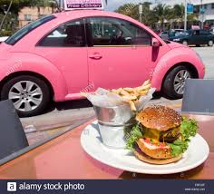 volkswagen pink volkswagen big pink restaurant miami florida stock photo