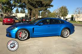 porsche panamera blue satin perfect blue porsche panamera car wrap wrap bullys