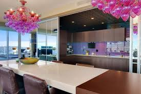 modern kitchen decoration using blue mosaic tile mirrored kitchen kitchen modern kitchen decorating design idea using decorative large pink glass kitchen chandelier including