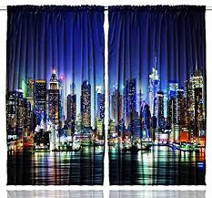 Washable Curtains Amazon Com New York City Manhattan Skyline At Night Skyscrapers